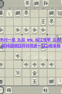 [棋譜巡り]木村一基 九段 vs. 船江恒平 六段 第14回朝日杯将棋オープン戦本戦