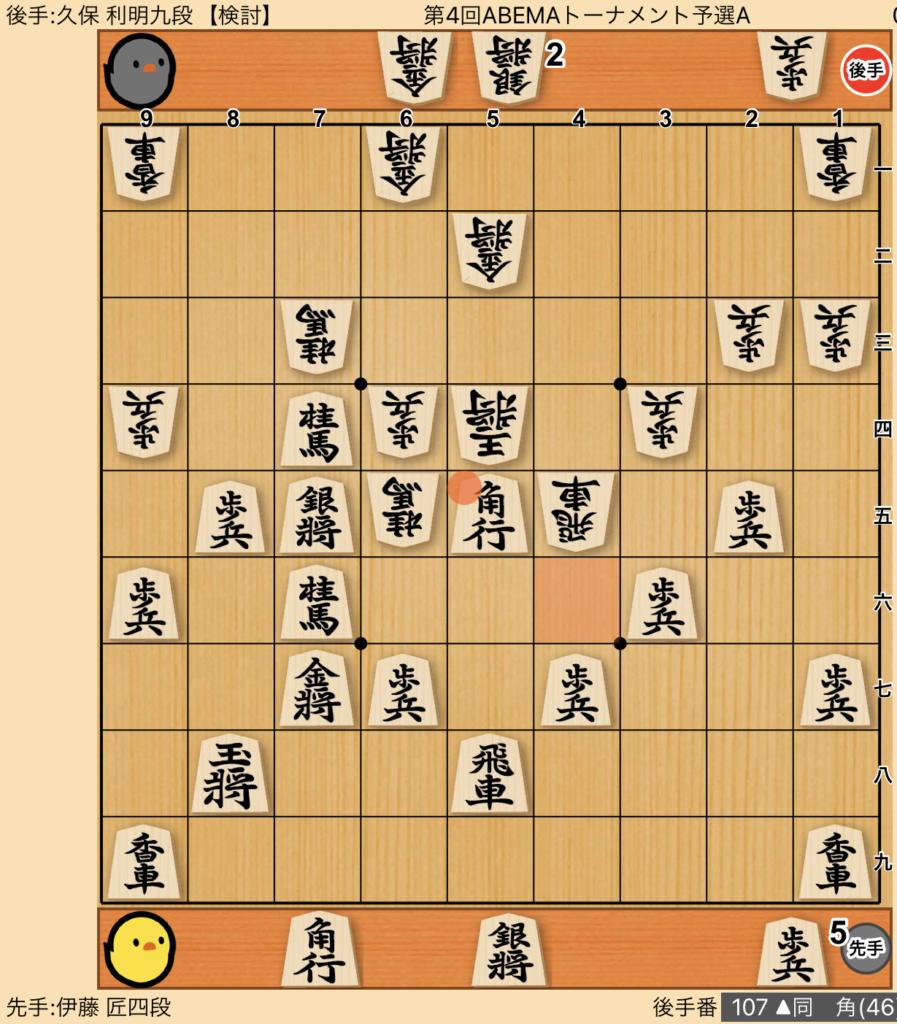 [ゴキゲン中飛車対策棋譜]伊藤 匠四段 対 久保 利明九段 第4回ABEMAトーナメント予選A