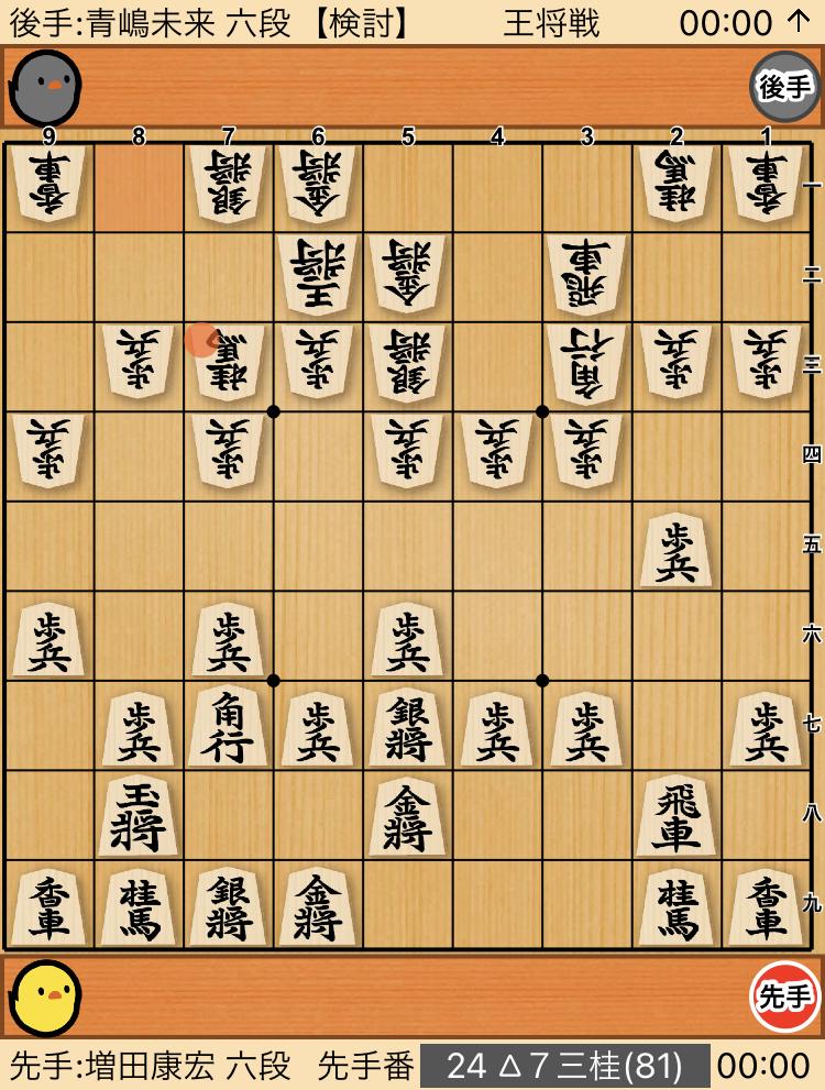 青嶋未来六段[三間飛車トーチカ]対増田康宏六段[松尾流穴熊]棋譜